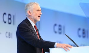 Labour Party leader Jeremy Corbyn speaking at the CBI in November. CEOs and business leaders are most likely to be affected by a maximum earnings cap.