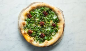 'Because we must all eat our greens': pizzetta with purple sprouting broccoli and nduja.