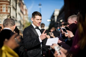 Brian J Smith talk to fans on the red carpet