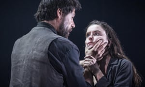Matt Ryan (Gilbert) and Judith Roddy (Young Woman) in Knives in Hens at the Donmar Warehouse, directed by Yaël Farber.