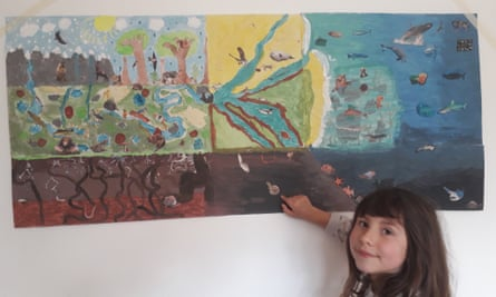 George Monbiot's daughter with their ecology painting