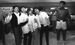 With the Beatles in Florida in February 1964, where the band and the boxer were appearing on the Ed Sullivan Show.