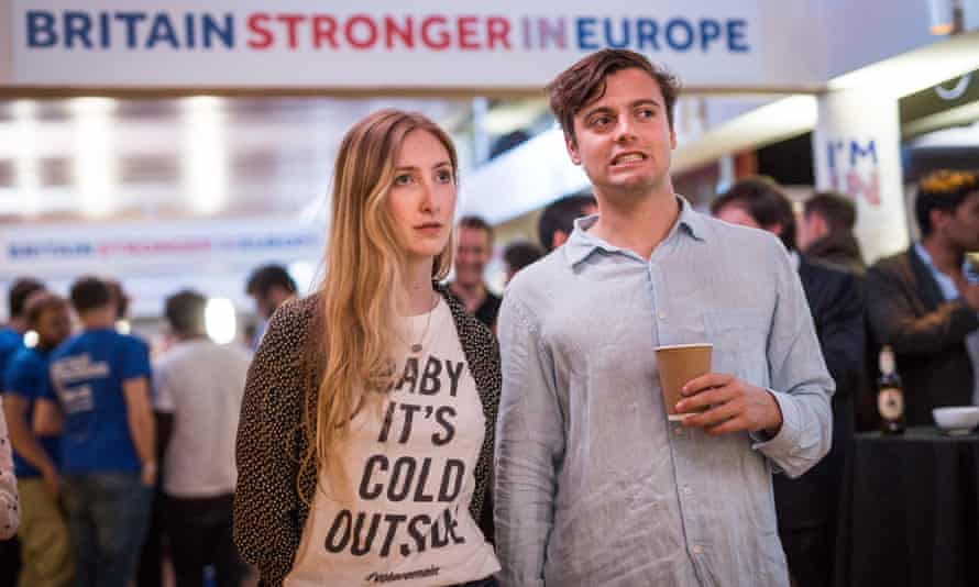 Man and woman watching EU referendum results come in