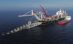A ship works in the Baltic Sea on the natural gas pipeline Nord Stream 2 from Russia to Germany.