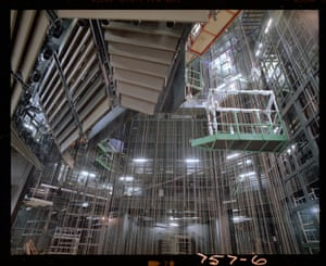 Looking up at the lowered fly system from the stage (Oct 1981)