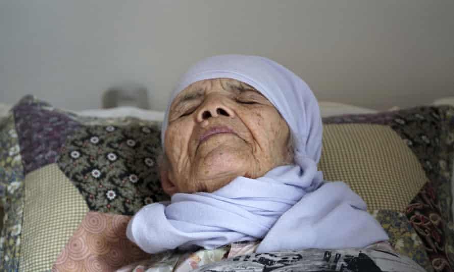Bibihal Uzbeki seen in bed in Hova, Sweden