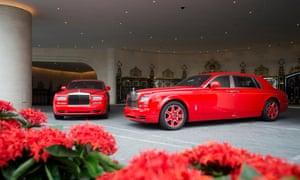 Bespoke red Roll-Royces at a hotel in Macau