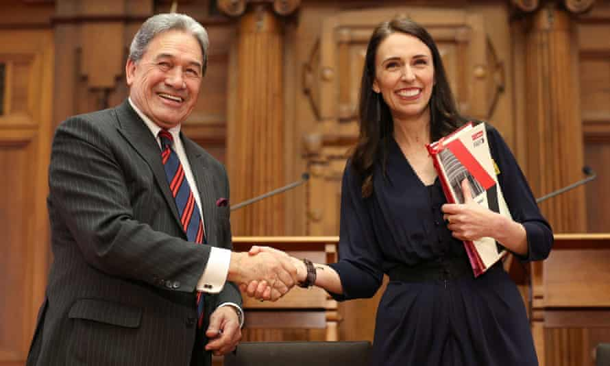 Prime minister-elect Jacinda Ardern and NZ First leader Winston Peters at the coalition agreement signing.