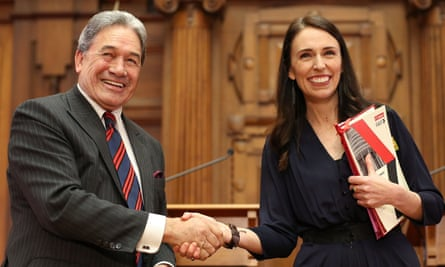 Prime minister-elect Jacinda Ardern and NZ First leader Winston Peters shake hands after agreeing to a coalition in October 2017.
