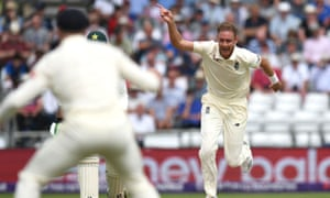Stuart Broad celebrates taking the wicket of Pakistan's Azhar Ali on the first day of the Second Test at Headingley.