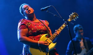 Brittany Howard of Alabama Shakes performs onstage at the Boston Calling Music Festival.