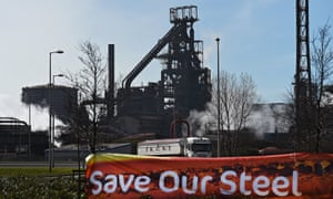 A steel plant in Port Talbot, south Wales.