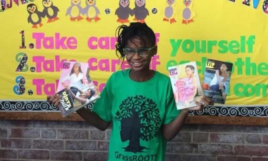 Marley Dias, with some of the #1000blackgirlbooks.
