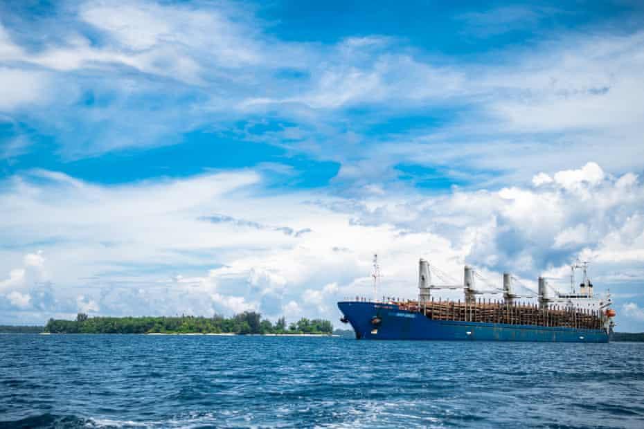 A logging ship off Kavieng, New Ireland, in October 2016.