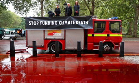 Extinction Rebellion's 'blood protest' outside the Treasury last week.