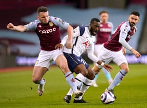 McGinn in action with Ndombele.