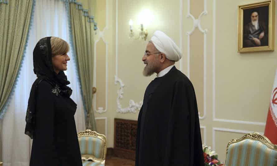 Julie Bishop meets with Iran's president, Hassan Rouhani, on Saturday.