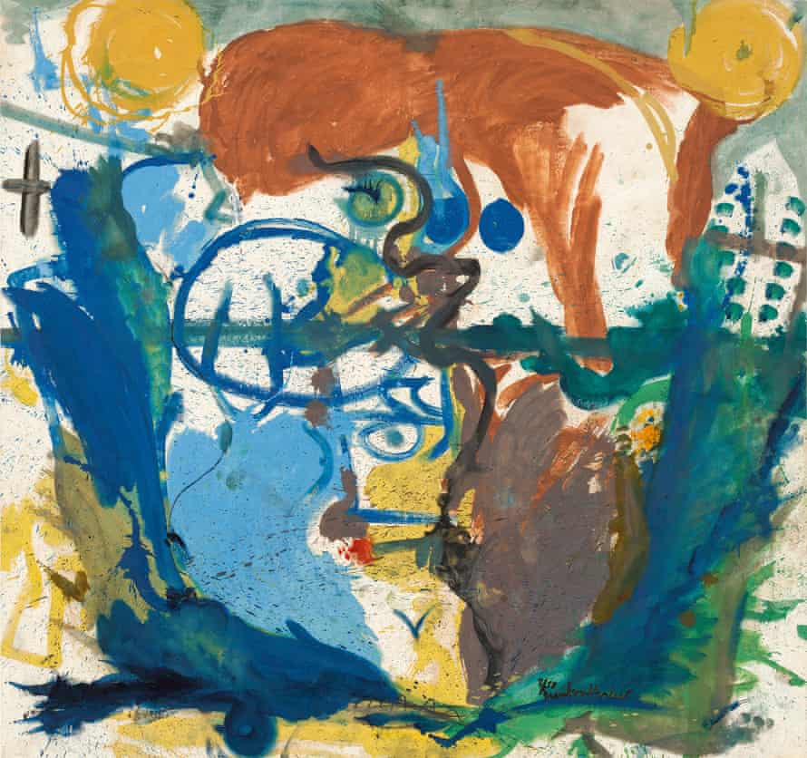 An untitled 1958 painting by Helen Frankenthaler.