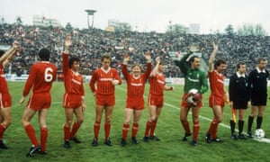 The Liverpool players look pensive as they wave to the fans before kick-off in Bucharest, apart from Sammy Lee who looks like he's having a whale of a time.