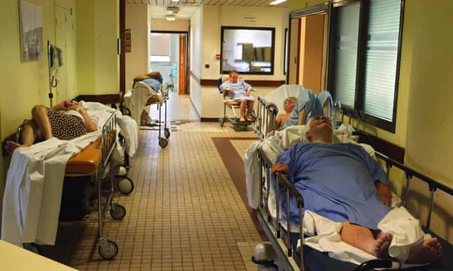 Patients being treated at a hospital in Versailles near Paris, during the heatwave that hit France in 2003.