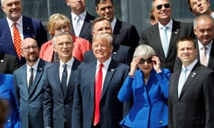 Donald Trump and Nato leaders at summit in Brussels.