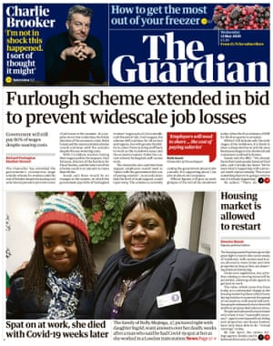 Guardian front page, Wednesday 13 May 2020