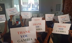A Rohingya community in Kutupalong watches the sentence delivery and holds thank you notes for the Gambia, which brought the case against Myanmar to the ICJ.