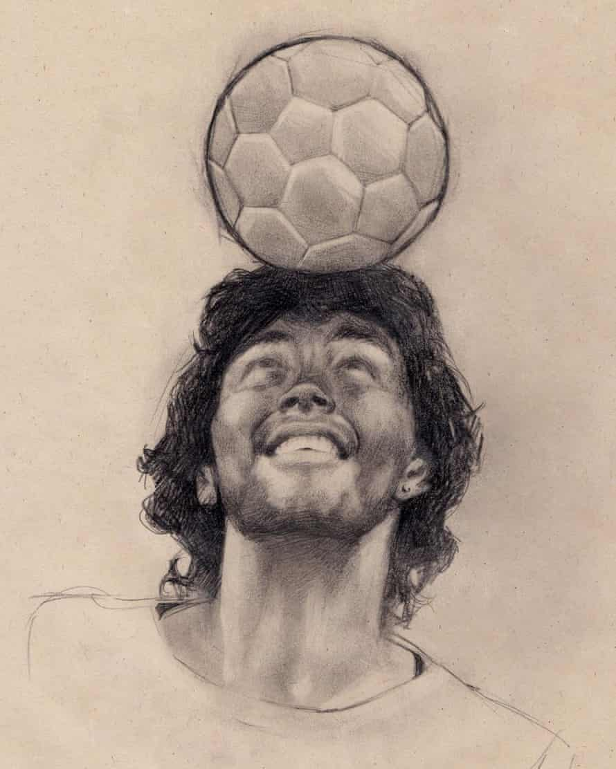 Diego Martinez drew this tribute to Maradona the day after he died.