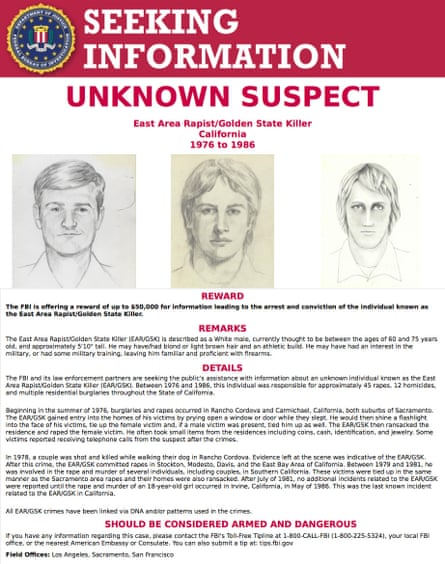 The FBI Golden State Killer wanted poster, issued in 2016 with a $50,000 reward for information on the unknown suspect
