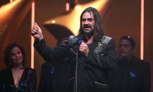 Warwick Thornton accepts the Aacta award for best film for Sweet Country