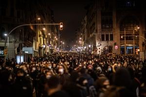 Protestors march in Barcelona