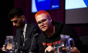 Whistleblowers Shahmir Sanni and Christopher Wylie at the Observer event.