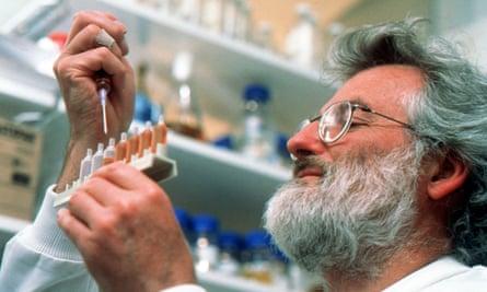 John Sulston at his laboratory in Hinxton, Cambridgshire.