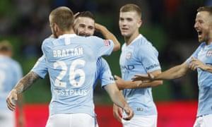 Melbourne City players celebrate