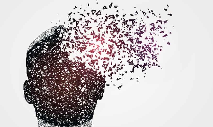 Illustration of a human head disintegrating