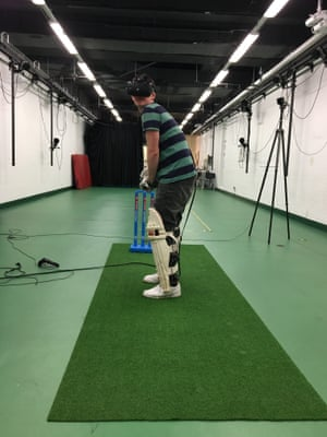 Tim Wigmore bats while wearing a virtual reality headset.