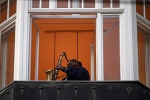 Cuban saxophonist Eldis La Rosa performs on his saxophone