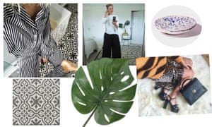 Insta-interiors … clockwise from left: The Frugality's Instagram; Erica Davies with La Redoute rug on Instagram; splatter print ceramic bowl, Not-Another-Bowl, £23; Laura Jackson's Instagram; Smycka artificial leaf, Ikea, £3.50; Berkeley charcoal tile, Topps Tiles, £13.68 per tile.