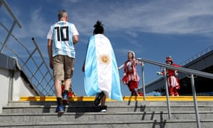 Argentina fans arrive at the game in Kazan.