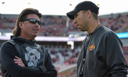Mike Gundy (left) has been a player and head coach at Oklahoma State