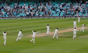 Jimmy Anderson bowls Mohammed Shami to end the match.