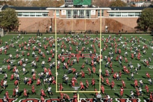Harvard Football from End Zone, 2017This is also an early image in the series, a football game at Harvard Stadium against Princeton from 2017. I set up my camera in deep shade in the rear curve of the horseshoe-shaped Harvard stadium. It was cold, so I was all alone on the broad concrete bleachers with my camera and tripod. Several hundred spectators sat in the sunny areas. I took a thousand or two pictures over the hour or two I was there. When you watch a game, the action is sequential and local, of course. When I compose a photo like this, the action is general and simultaneous. In some ways, this is more true to the way you might remember a game--a jumble of action--or maybe how you'd dream it.