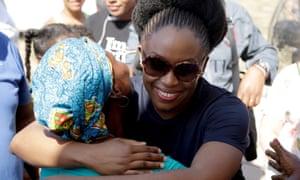 Chimamanda Ngozi Adichie embraces a fan at the Hay Cartagena festival on Saturday.