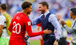 Gareth Southgate celebrates with Dele Alli after the quarter-final win against Sweden.
