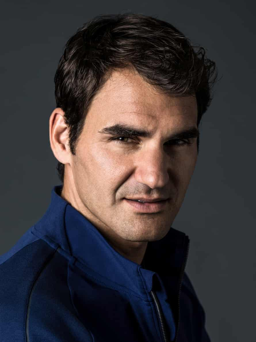 Tennis player Roger Federer wearing a jacket from his new clothing line for Nike