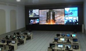 North Korean technicians monitor a satellite launch attempt in 2012.
