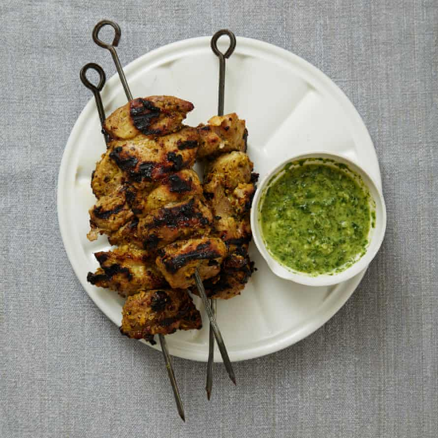 Lahpet's starter of pork skewers with a coriander and mint dip.