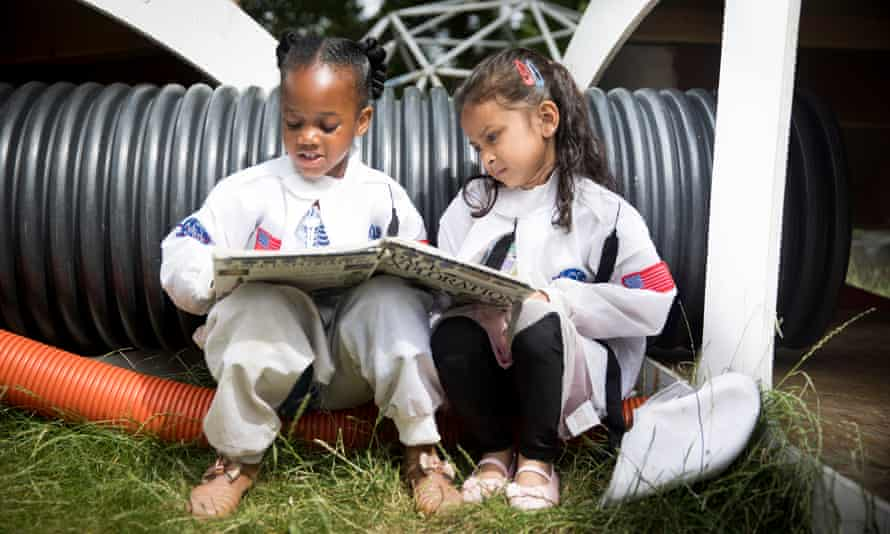 Girls dressed up as astronauts