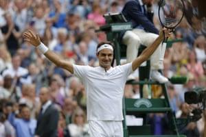 Roger Federer celebrates after match point.
