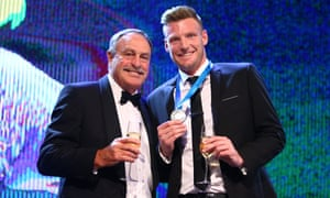 Sam Groth poses with John Newcombe after winning Australian tennis' top individual prize this year.